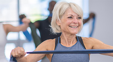Active older adult in an exercise class