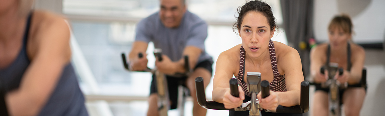 woman on stationary bike