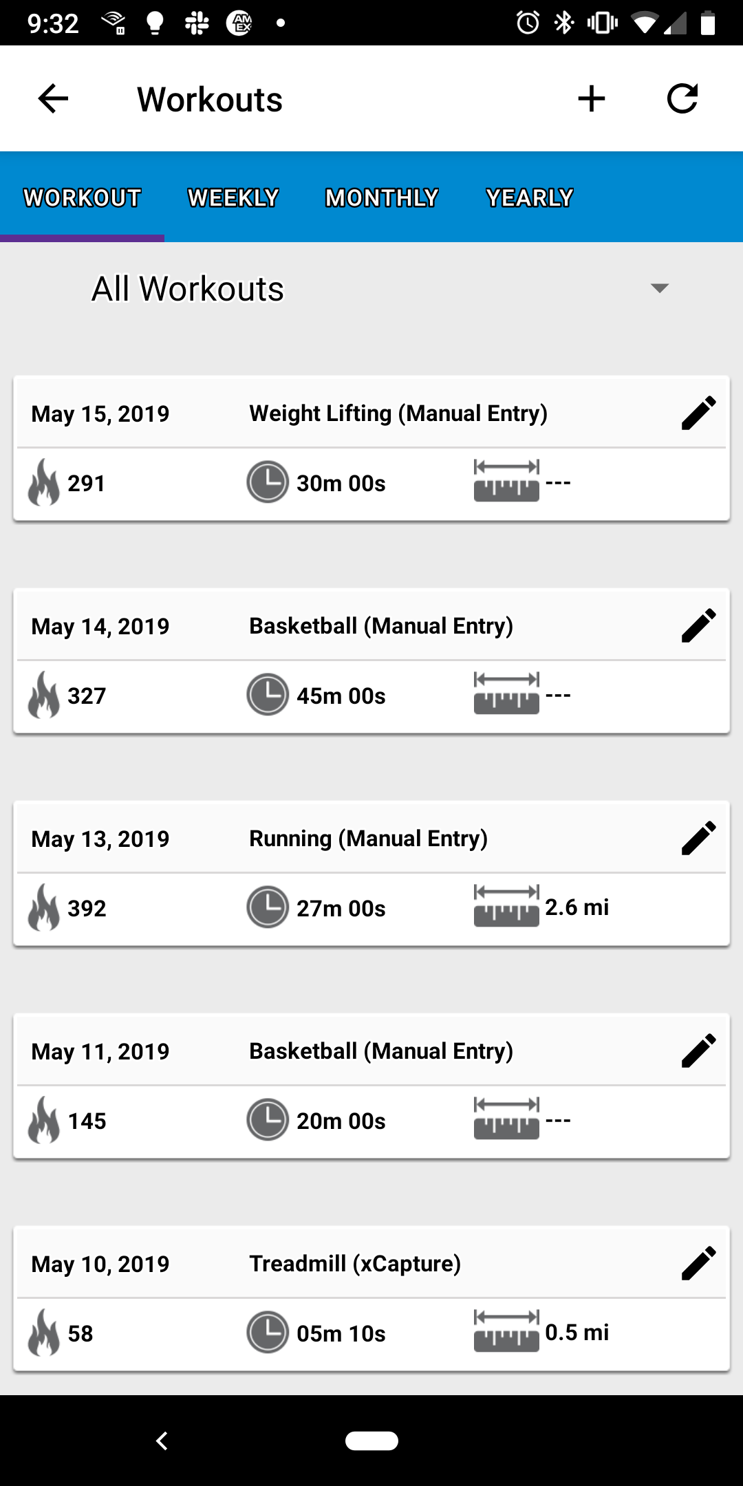 Mobile App Workouts Screenshot